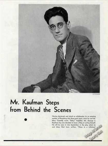George S. Kaufman Print Photo & Short Article (1930)
