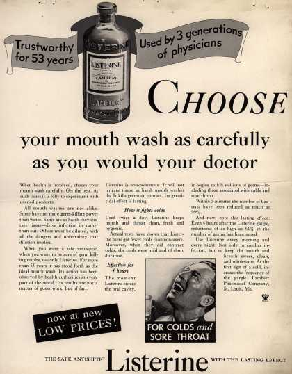 Lambert Pharmacal Company's Listerine – Choose your mouth wash as carefully as you would your doctor (1934)
