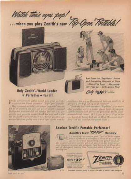 Zenith Radio – Pop Open & Tip Top Portable Radios (1949)