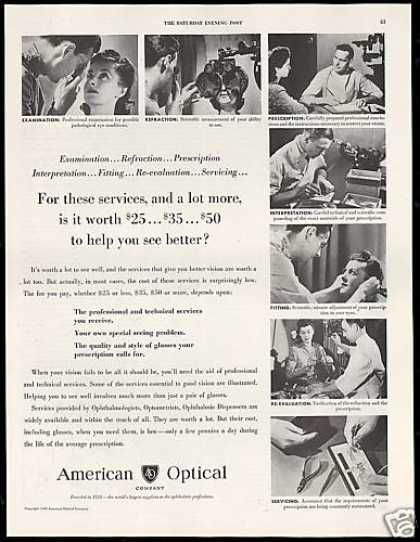 American Optical Glasses Optometrists Services (1949)