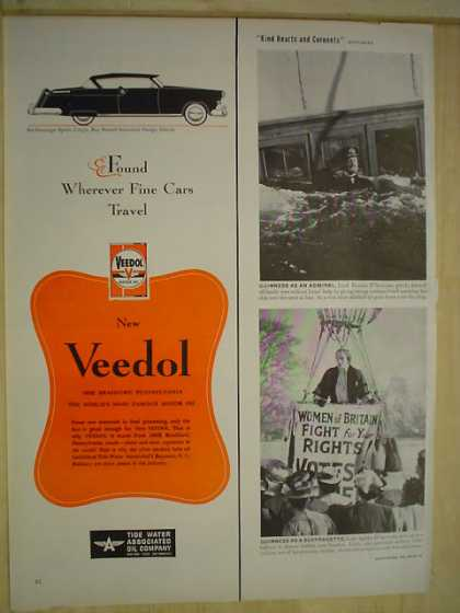 Veedol Motor Oil Found wherever fine cars travel (1950)