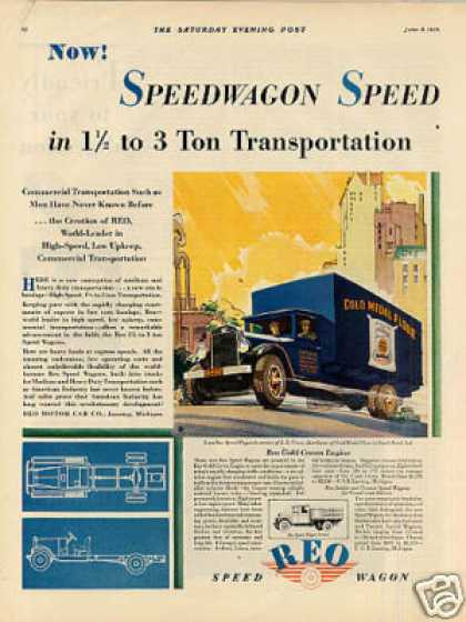 Reo Speed Wagon Truck Color Ad Gold Medal Flour (1929)