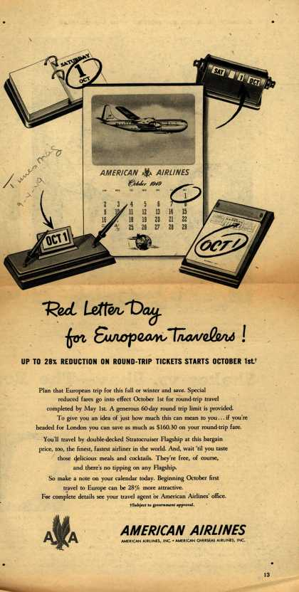 American Airline's European Travel – Red Letter Day for European Travelers (1949)