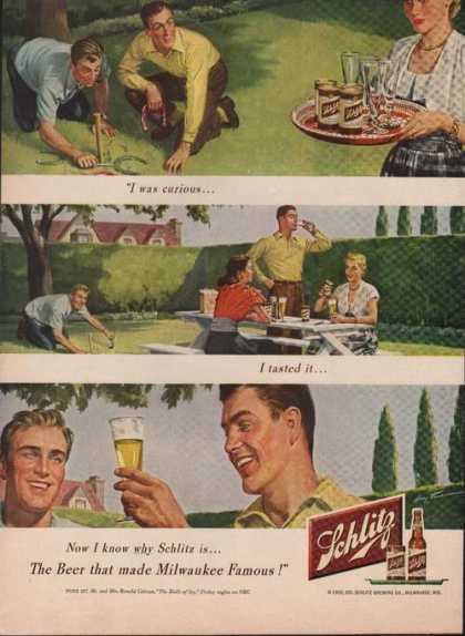 Schlitz Beer Playing Horseshoes (1950)