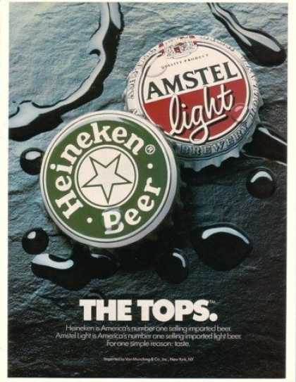 Heineken & Amstel Light The Tops Beer Caps (1990)