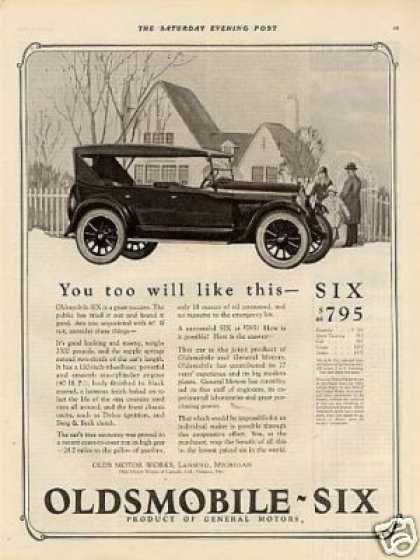 "Oldsmobile Six Car Ad ""You Too Wil Like... (1924)"