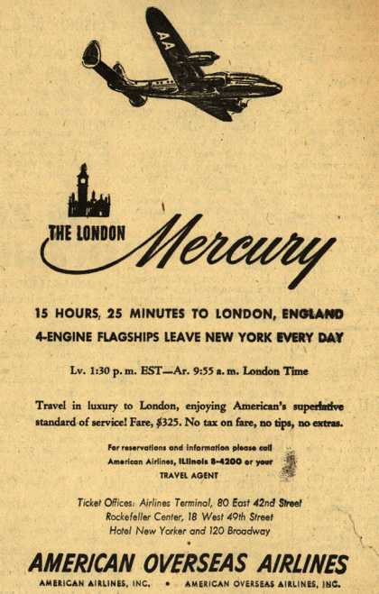 American Overseas Airline's London, England – The London Mercury (1947)
