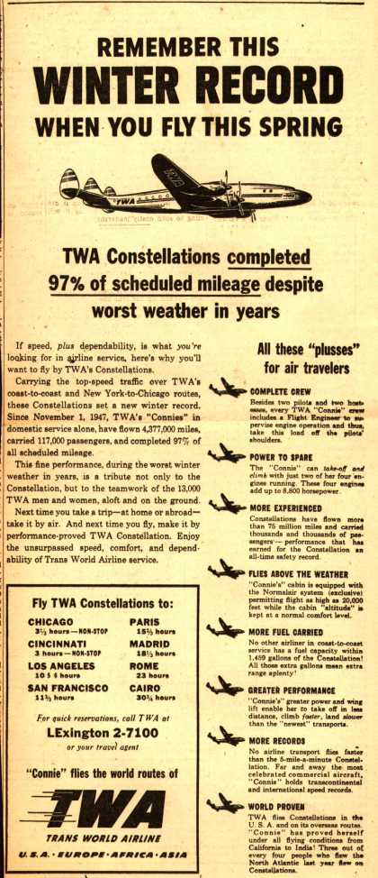 Trans World Airline's Constellations – Remember This Winter Record When You Fly This Spring (1948)
