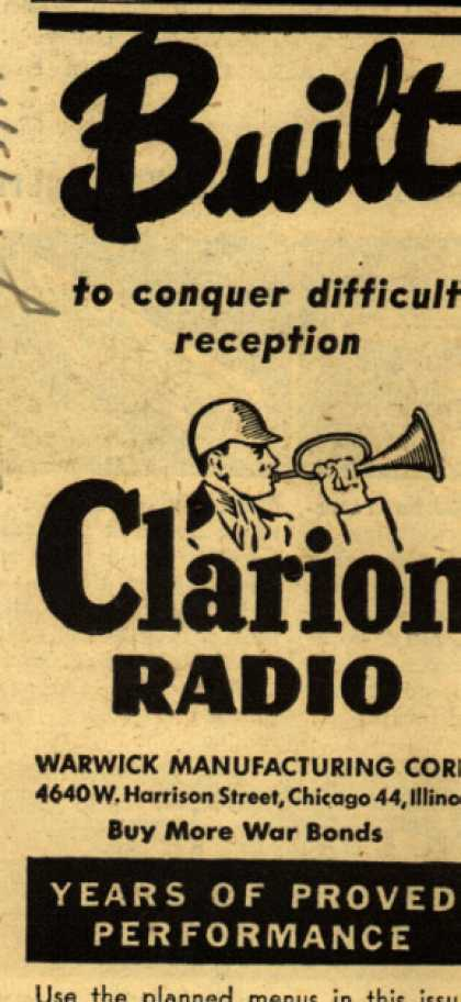 Clarion Radio's Radio – Built to conquer difficult reception (1945)