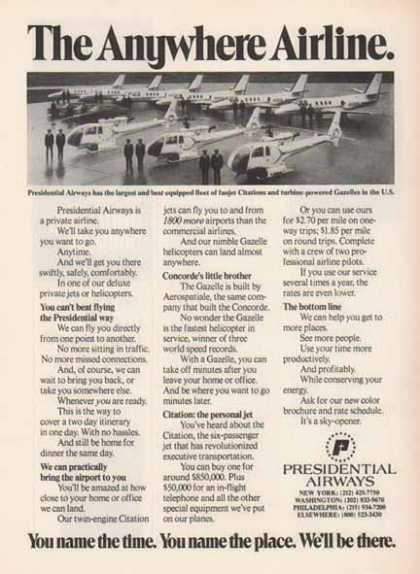 Presidential Airways – Citations and Gazelles (1976)