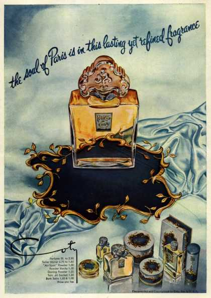 Coty's Paris Cosmetics – the soul of Paris is in this lasting yet refined fragrance (1948)