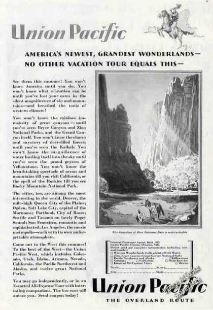 Union Pacific Vacation Tour Grand Zion Photo (1929)