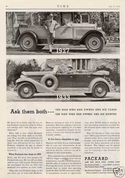 "Packard Car Ad ""Ask Them Both... (1933)"