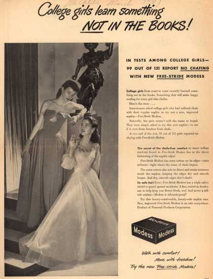 Personal Products Corporation's Modess Sanitary Napkins – College girls learn something Not In The Books (1947)