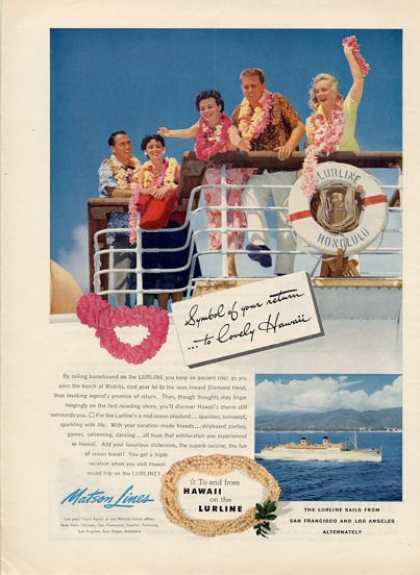 Matson Line Lurline To Hawaii To Honolulu (1952)