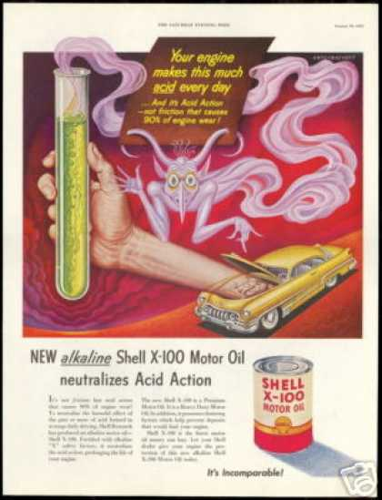 Artzybasheff Art Test Tube Shell Car Oil (1951)