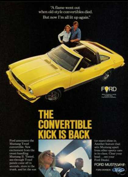 Ford T-Roof Yellow Mustang II Photo Print Car (1977)