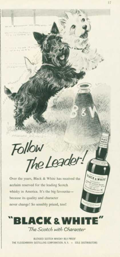 Black & White Scotch Ad Follow the Leader Football (1959)