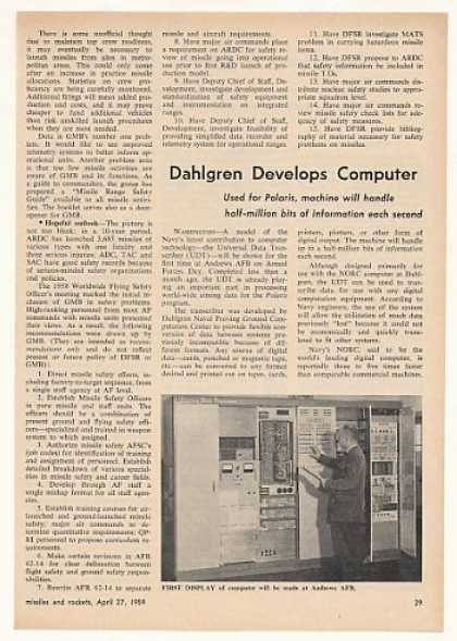 Navy Polaris Dahlgren UDT Computer Photo Article (1959)