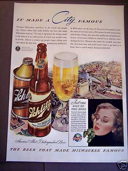"Schlitz Milwaukee ""Most Distinguished Beer"" (1942)"