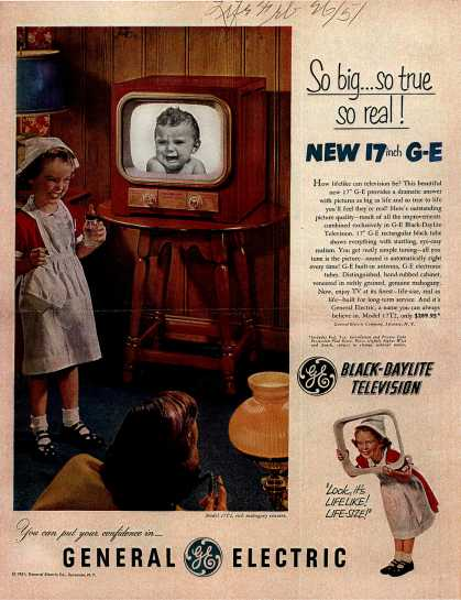 General Electric Company's Black-Daylight Television – So big... so true, so real (1951)