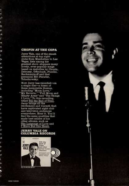 Columbia Records Singer Jerry Vale Print (1964)