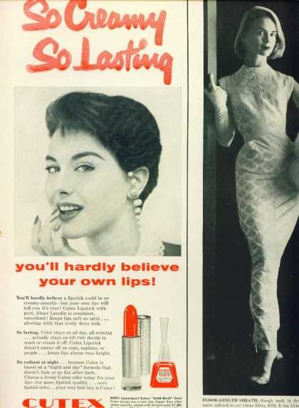 Cutex Sheer Lanolin Lipstick C 1/2 Page (1958)