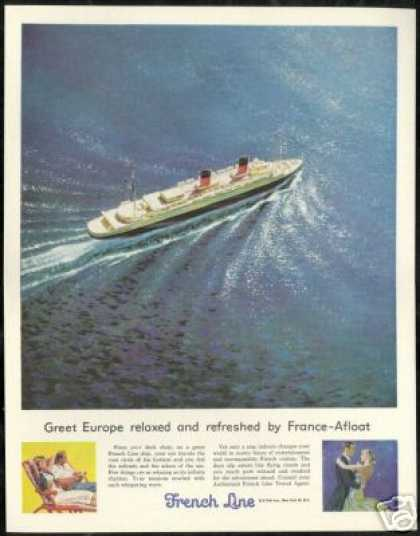 French Line Cruise Ship Vintage (1956)