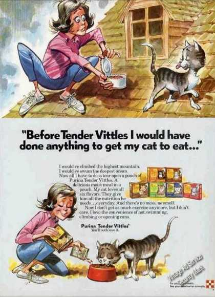 Clever Cat Art Purina Tender Vittles (1974)