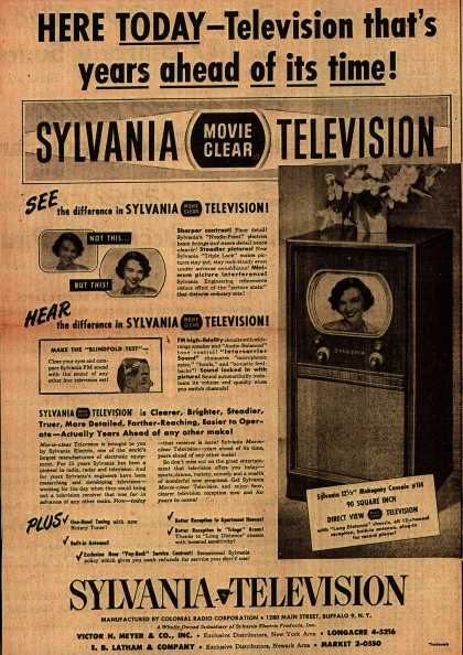 Colonial Radio Corporation's Movie Clear Television – Here Today – Television that's years ahead of its time (1949)
