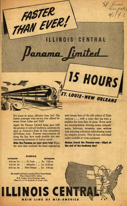 Illinois Central Railroad's The Panama Limited – Faster than Ever! Illinois Central Panama Limited 15 Hours (1946)