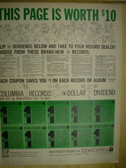 Columbia Records. This page is worth $10. High Fidelity records (1958)