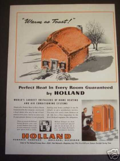 Holland Funace Home Heating Warm As Toast Art (1941)