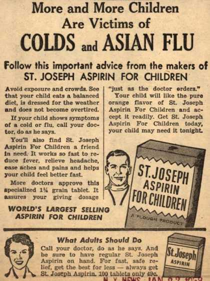 Plough's St. Joseph Aspirin for Children – More and More Children Are Victims of Colds and Asian Flu (1958)