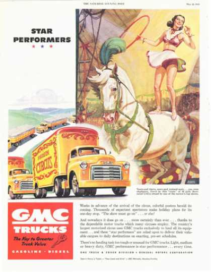 Gmc Trucks Moving Circus Art Print (1949)