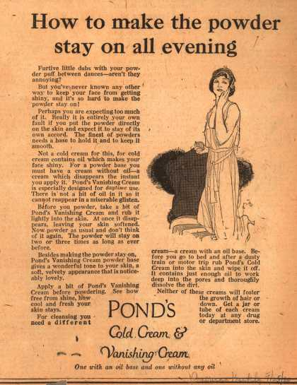 Pond's Extract Co.'s Pond's Cold Cream and Vanishing Cream – How to make the powder stay on all evening (1920)