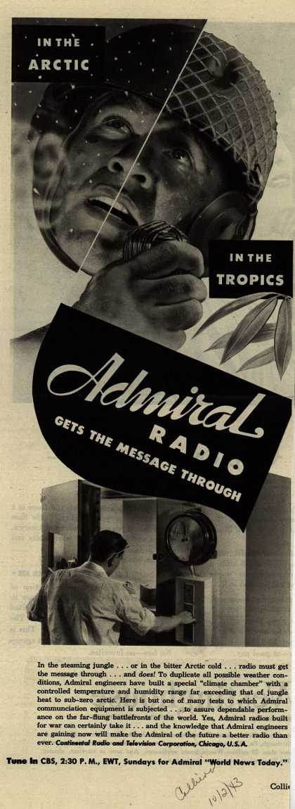 Continental Radio and Television Company's Radio – In The Arctic, In The Tropics, Admiral Radio Gets The Message Through (1943)