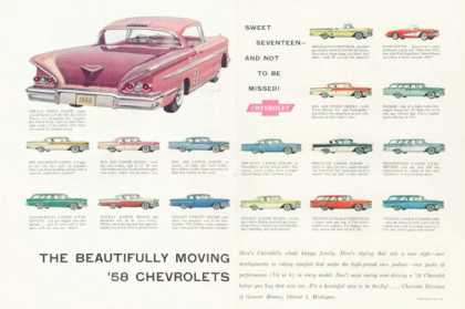 Chevy Chevy Impala Sport Coupe Ad 17 Model Lineup (1958)