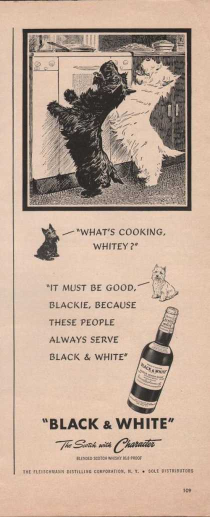 """Whats Cooking"" Black & White Scotch Print (1949)"