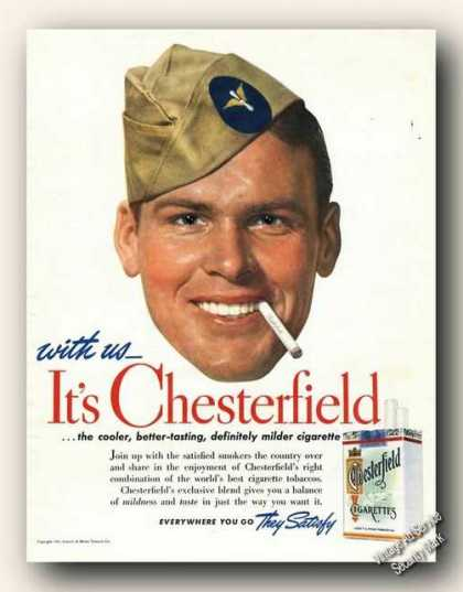 Chesterfield Cigarettes Wartime Art Advertising (1941)