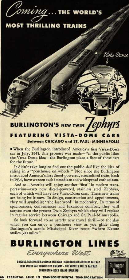 Burlington Line's Zephyrs with Vista-Dome Cars – Coming...THE WORLD'S MOST THRILLING TRAINS (1948)