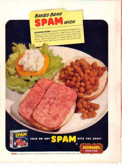 SPAM and Baked Bean Sandwich Hormel (1949)