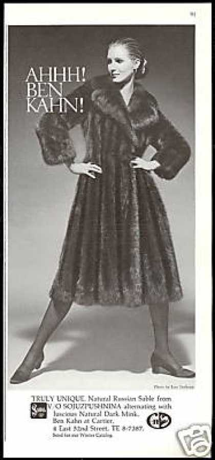 Ben Kahn Russian Sable Mink Coat Fur (1971)