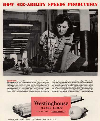 Westinghouse Electric & Manufacturing Company's Lamps – How See-Ability Speeds Production (1944)