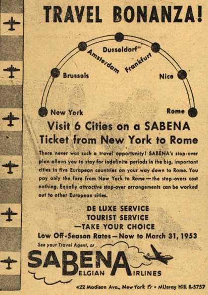Sabena Belgian Airlines – Travel Bonanza (1952)