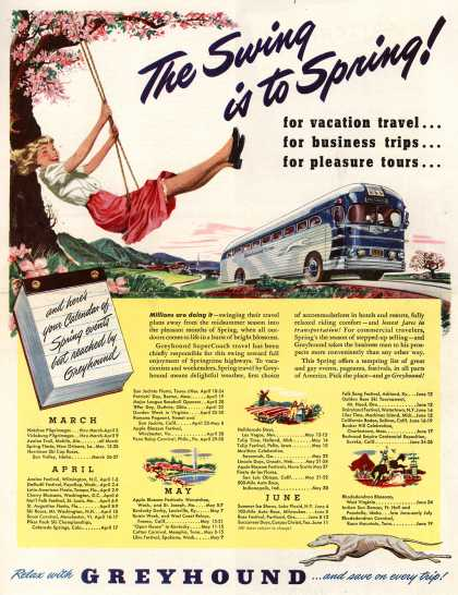 Greyhound – The Swing is to Spring! for vacation travel... for business trips... for pleasure tours... (1949)