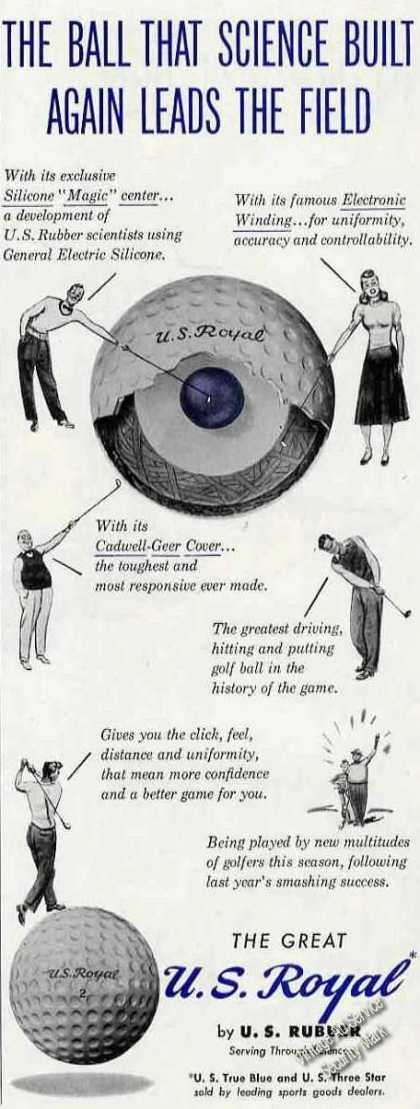 U S Royal Golf Balls Cutaway View (1949)