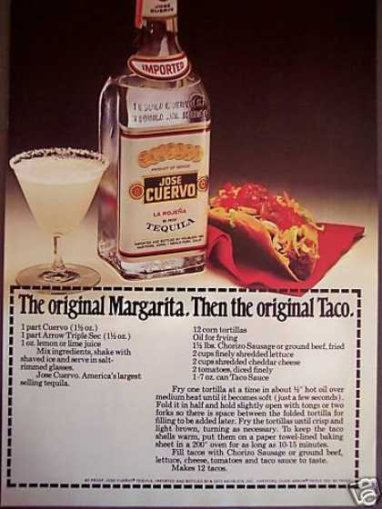 Jose Cuervo Tequila Margarita Taco Recipes (1972)
