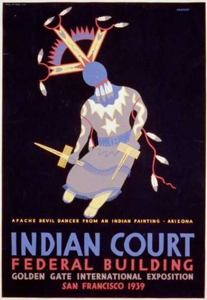 Indian court, Federal Building, Golden Gate International Exposition, San Francisco, 1939 – Apache devil dancer from an Indian painting, Arizona / S (1939)