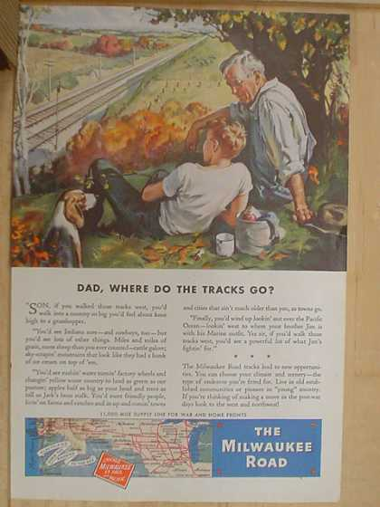 The Milwaukee Road. Railroad. Dad, where do the tracks go? (1941)